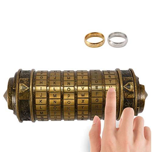 Blusea Da Vinci Code Zylinderschloss Box Mini Cryptex Retro Alphabet Sperren Valentinstag Freundin Freund Sicherheitsschlösser Geburtstag Interessantes Kreatives Romantisches Geschenk