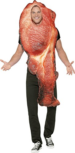 Erwachsene Spiegelei Kostüme (Smiffy's 45537 - Unisex Bacon Kostüm mit Wappenrock, One Size,)