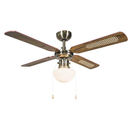 Retro Deckenventilator mit beleuchtung Wind 42 Bronze / Innenbeleuchtung / Wohnzimmer / Schlafzimmer / Küche Glas / Holz / Metall / Rund LED geeignet E14 Max. 1 x 60 Watt