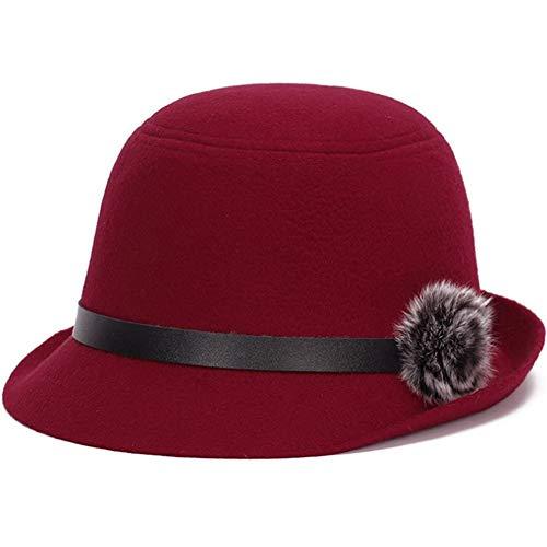 Lzling Weiblicher Hut Hut Lässig Joker Trend Einfache Herbst Reise England Elegant Schwarz Curling Top Hat 2, Rot