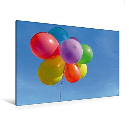 Calvendo Premium Textil-Leinwand 120 cm x 80 cm quer, Luftballons am blauen Himmel | Wandbild, Bild auf Keilrahmen, Fertigbild auf echter Leinwand, Leinwanddruck: Leichtigkeit Kunst Kunst