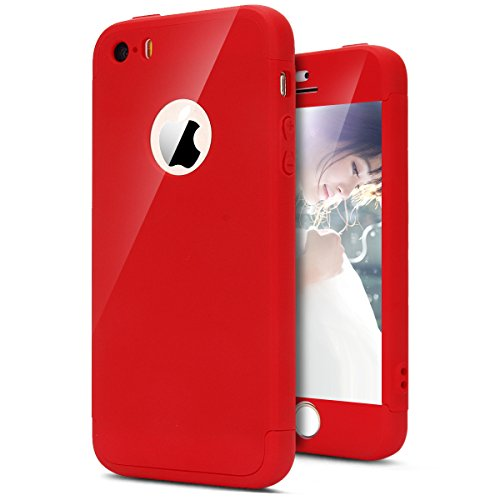 Coque iPhone 5S, Coque iPhone SE Integrale Rigide, SainCat Ultra Slim Rigide Solide Plastique Coque pour iPhone 5/5S/SE 360 Degres Rigide, Coque Ultra Fine Dure pour Fille Ultra Resistante Full Cover Anti-Scratch Ultra Fine Cover Coque Plastique Souple, Coque Rigide Ultra Mince Premium Shockproof Ultra Thin Coque Housse Bumper Cover pour iPhone 5/5S/SE-Rouge