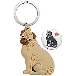 Llavero con chip perro Pug de carrito de la compra
