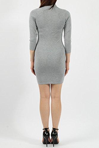 Ladies Lace-up Detail Choker Robe Bodycon EUR Taille 36-42 Gris argenté
