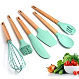 LCLrute 6Pcs Silicone Cooking Kitchen Utensils Set, Bamboo Wooden Handles Cooking Tool Non Toxic Silicone Turner Tongs Spatula Spoon Kitchen Gadgets Utensil Set for Nonstick Cookware