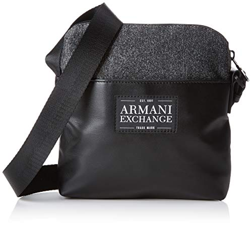 Armani Exchange - Small Crossbody Bag, Bolso bandolera Hombre, Negro (Dark Grey/Black),...