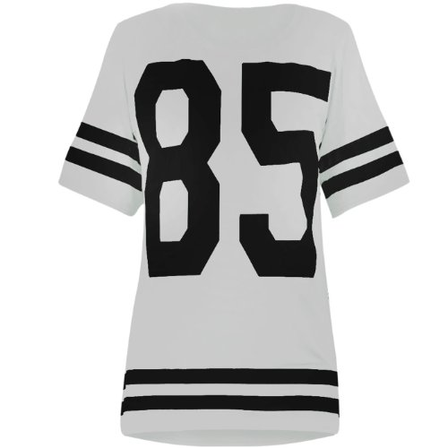 OOPS OUTLET DAMEN TOP 85 PRINT AMERICAN FOOTBALL COLLEGE White T SHIRT JERSEY S/M (8/10)