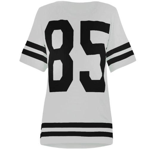 """Damen American-Football-Oberteil, Aufdruck """"85"""",College-Stil, T-Shirt in Weiß M/L (12/14)"""