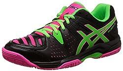 Asics Womens Gel-Dedicate 4 Black, Green Gecko and Hot Pink Tennis Shoes -4 UK/India (37 EU)(6 US)