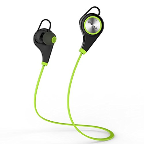 CurioCity(TM) Q9 Wireless Bluetooth 4.1 Headphones Green Color - In-Ear Noise Cancelling Sweatproof Running Headset Earphones Earbuds with Handsfree Mic and APT-X