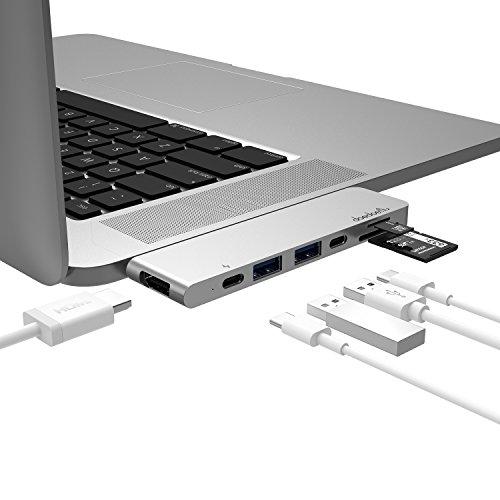 USB C Hub,doedoeflu USB Typ C Adapter mit 40Gbs Thunderbolt 3, Typ C Ladeanschluss, 1 HDMI Port, 2 USB 3.0 Port , SD / Micro SD Card Reader für 2016/2017 MacBook Pro 13