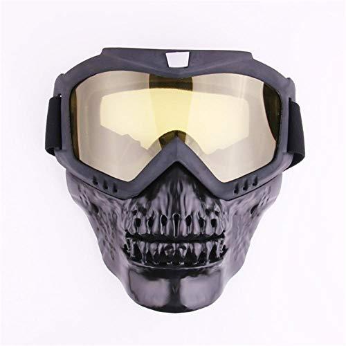 Pkfinrd Outdoor-Reitmaske Motocross Ski Snowboard Motorschlitten Retro-Maske Schutzbrille Brille@Gelber Film (Gelbe Snowboard-schutzbrillen)