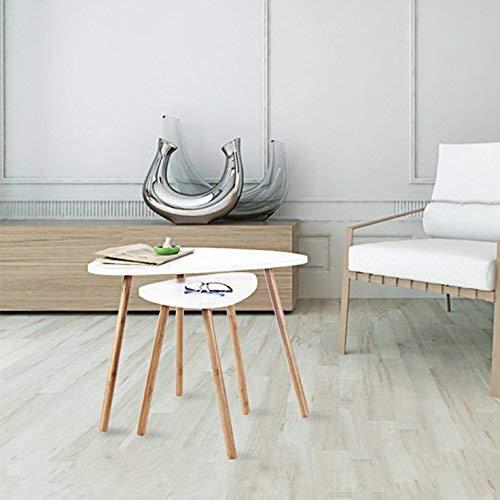 Homfa Tavolino Divano di caffè in MDF Bianco, Set di 2 Tavolini ...