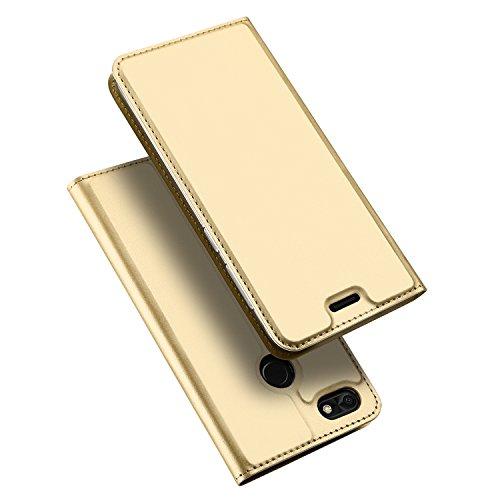 Huawei P9 Lite Mini / Huawei Y6 Pro 2017 Hülle, DUX DUCIS Skin Pro Series Ultra Slim Layered Dandy, Ständer, Magnetverschluss,TPU Bumper, Full Body Schutz für Huawei P9 Lite Mini / Y6 Pro 2017 (Golden) (Mini Layered)