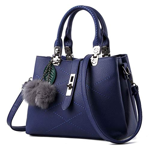 (Znvmi Damen Handtasche PU Leder Schultertasche Frauen Crossbody Tasche Stilvolle Designer Schulterbeutel Umhängetasche mit Pelz-Kugel - Blau)