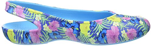 crocs Damen Olivia2grphflat Slingback Blau (Blue/Floral)