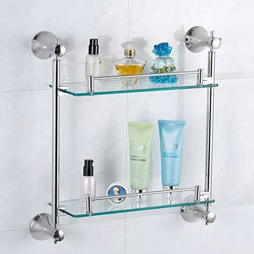 Badezimmer Wandregal 6mm Glas Regal 2 Ebenen Hängen Dusche Caddy Bad Organizer Silber Verschraubungen Haushaltswaren 5.25 - 2 Regal Glas Regal