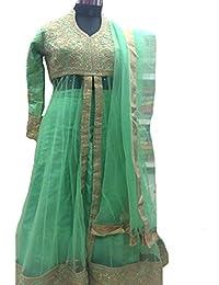 Eid Muslim Hijab Women Green Dress Ready to Wear Indian Ethnic Party Wear Wedding Ceremony Anarkali Salwar Kameez Suit 8805