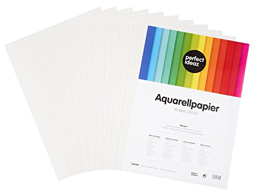 perfect ideaz 30 Blatt DIN A3 Aquarell-Papier 300g, Mal- & Zeichen-Block in weiß, Wasser-Farben Karton strukturiert & matt, watercolor paper für Skizzen, Aquarelle, Lavis, Gouache, Tempera & Acryl