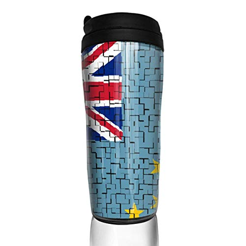 Travel Coffee Mug Tuvalu Flag Puzzle 12 Oz Spill Proof Flip Lid Water Bottle Environmental Protection Material ABS - Tuvalu Cap