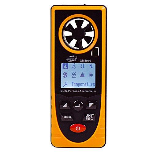 COWEEN Windmessgerät Digitales Anemomoter Multifunktionen Hand Windmesser mit und Kordel Daten Behalten Messer für Windsurfen, Drahenfliegen, Aeromodelling und Surfen, Angeln usw.