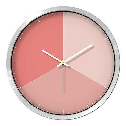 ZHUNSHI Metal Simple Round Wall Clock Muffled Mosaic Clock, 14-Inch, Silver Frame C