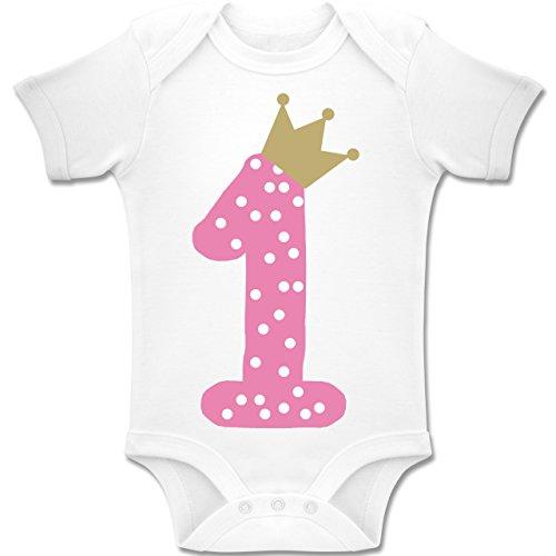 Shirtracer Geburtstag Baby - 1. Geburtstag Krone Mädchen Erster - 6-12 Monate - Weiß - BZ10 - Baby Body Kurzarm Jungen Mädchen