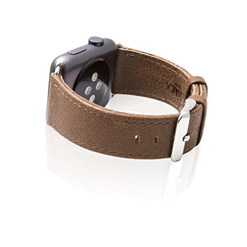 Apple Watch Armband Serie 1 & 2 & 3, SVAEX 38 mm Ersatzarmband aus Retro Echt-Leder mit Metallschnalle – Adapter enthalten - Smoke Braun