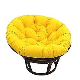 KKLTDI Rotin Papasan Coussin, D130cm(51.2″) Rond Coton Moelleux Accroché Oeuf Coussins De Chaise pour Patio Jardin sans Le Pied-Jaune 130cm(51inch)
