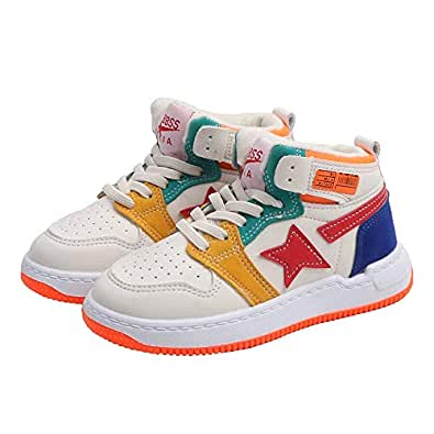 Hopscotch Baby Boys and Baby Girls PU Lace Up and Velcro High Tops Shoes in Beige Color