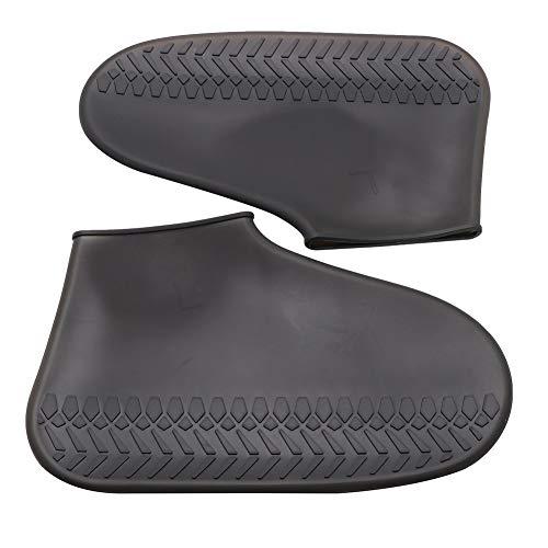 AMIYAN Regenüberschuhe Regenschutz Wasserdicht Flache Regen Überschuhe Schuhüberzieher Rutschfester Silikon-Schuhüberzug Radsportschuhe SchwarzL