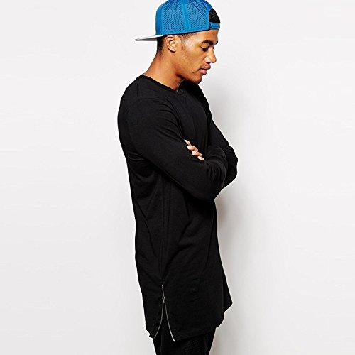 BOMOVO Herren Freizeit Langarm T-Shirt Shirt Henley-Slim Fit Side mit Reißverschluss Schwarz