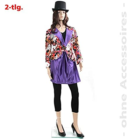 Damen-Kostüm Las-Vegas Casino Casino-night Poker-Dame Spiele-Dame Karten buntes Kleid (42)