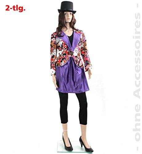 Damen-Kostüm Las-Vegas Casino Casino-night Poker-Dame Spiele-Dame Karten buntes Kleid (Casino Motto Party Kostüme)