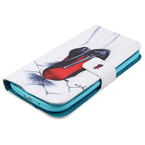 iPhone 5C Hülle, ISAKEN iPhone 5C Hülle Muster, Handy Case Cover Tasche for iPhone 5C, Bunte Retro Muster Druck Flip PU Leder Tasche Case Hülle im Bookstyle mit Standfunktion Kartenfächer mit Weich TP Black High-Heeled Shoes