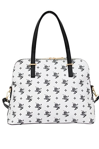 Sara Donna Borse Tote Bag Borsa A Tracolla Borsa Di Design In Similpelle 1712 Bianco