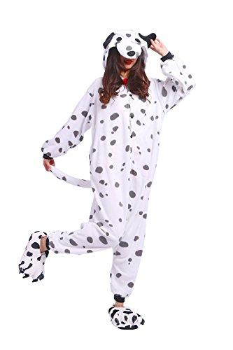 DarkCom Unisex-Erwachsene Einteiler Schlafanzug Fancy Cosplay-Bekleidung-Cartoon Jumpsuit Loungewear Fleckige Hund (2017 Hunde Kostüme Halloween Im)