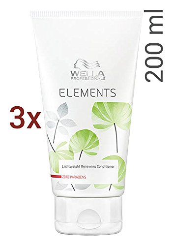 Wella Elements Conditioner 3 x 200 ml Parabenfreie Pflege für trockenes-sprödes Haar Professionals Care (Shampoo Wella Elements)