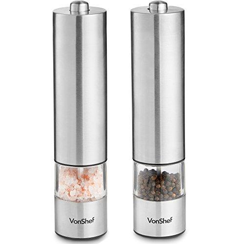 VonShef 2-er Set elektrische Salz- und Pfeffermühle – Bedienung per Knopfdruck, leicht zu befüllen & verstellbares Mahlwerk