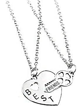 2Silber Legierung Herz und Schlüssel Freundschaft Charm Anhänger Halskette Modeschmuck Geschenk für Best Friends