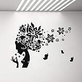 SLQUIET Silhouette Donna Parrucchiere Adesivi murali e Farfalle Adesivi murali in Vinile Camera da Letto Soggiorno Parrucchiere Adesivi murali Famiglia e Giardino 16 King Blu 60x42 cm