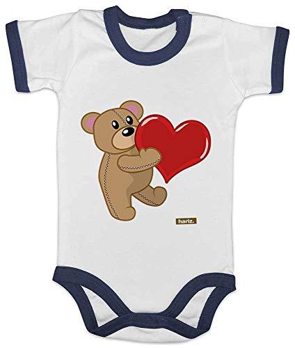 HARIZ Baby Body Ringer Bär Mit Herz Gezeichnet Tiere Zoo Plus Geschenkkarte Weiß/Navy Blau 3-6 Monate -