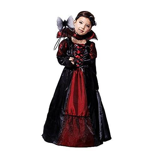 JT-Amigo Déguisement Vampire Enfants Fille Costume Halloween Carnaval, 4-5