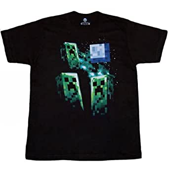 Official KIDS T Shirt MINECRAFT 3 Creeper MOON Black KIDS Age 5-6