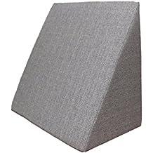 Almohada en forma de cuña, Soporte para la espalda en la cama, sala o el sofá / Almohada para leer o ver televisión Medidas: 60 x 50 cm, Altura: 30 cm - Color Gris