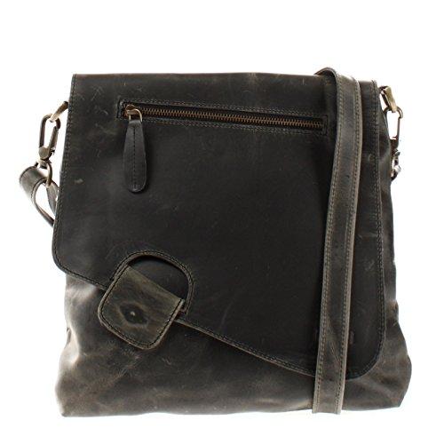 LECONI Umhängetasche Damen-Tasche Crossbag Rinds-Leder Natur Schultertasche Vintage-Look Ledertasche Frauen + Herren Handtasche aus Echt-Leder 29x29x6cm grau LE3027-wax -