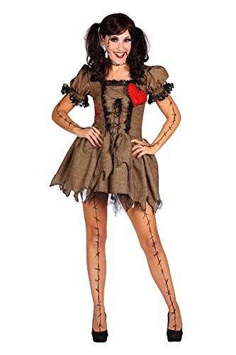 """Thetru 2404 Damenkostüm """"Vodoopuppe"""" 2-Teilig Kleid Petticoat Rock Karibik Geist Zombie Halloween Kostüm Damen Damenkostüm Halloweenkostüm Karneval Fasching Verkleidung Beige M"""