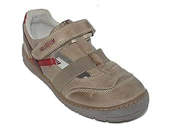 Chaussures garçon demi saison CUIR velcro beige pointure 33. PALLADIUM.