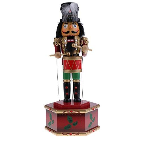 Phenovo 32cm Wooden Nutcracker King Drummer Figurine Statue Toy Music Box Kids Christmas Gift Home Desktop Decoration Accessories - drummer