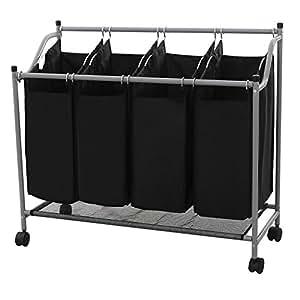 Songmics Neu für Wäschekorb Wäschesortierer Wäschebox Wäschewagen mit 4 × Sortierer Fächer Schwarz LSF005